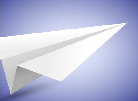 Vector origami airplane on blue background. Vector