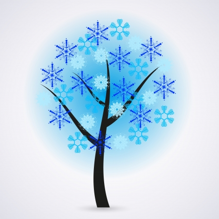 Creative snowflakes tree on gray background. Stock Vector - 14912685