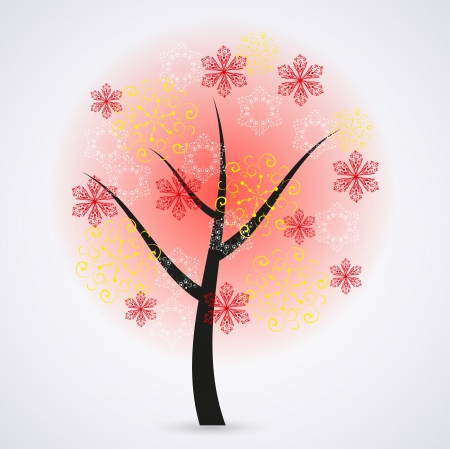 Creative snowflakes tree on gray background. Vector