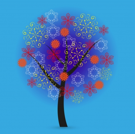Creative snowflakes tree on blue background. Vector