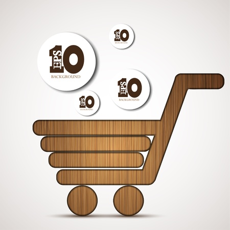wood trade: Vector concept shopping background.
