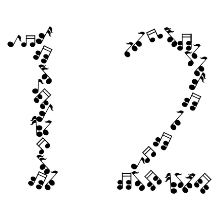 numbers abstract: music numbers Illustration