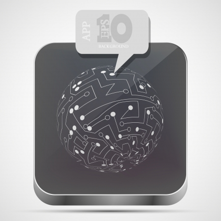 circuit board app icon with gray bubble speech Vector