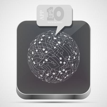 circuit board app icon with gray bubble speech Stock Vector - 15056533
