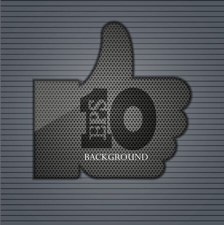 metal thumb up on metal background Stock Vector - 15053738