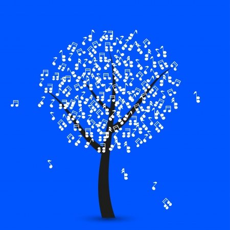 music tree on blue background Vector