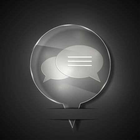 glass bubble speech icon on gray background.  Vector