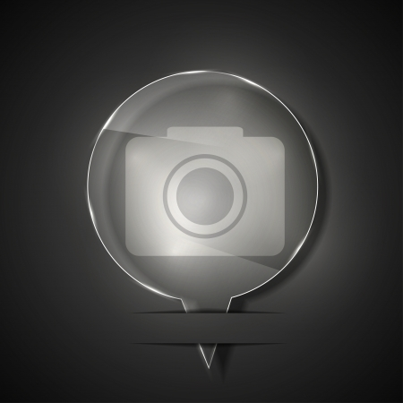 glass camera icon on gray background