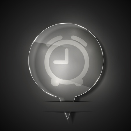 glass clock icon on gray background. Stock Vector - 15145685