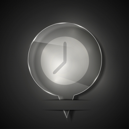 glass clock icon on gray background.  Vector