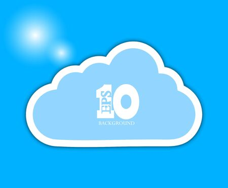 cloud on blue background.  Vector