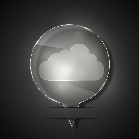 glass cloud icon on gray background. Stock Vector - 15145864