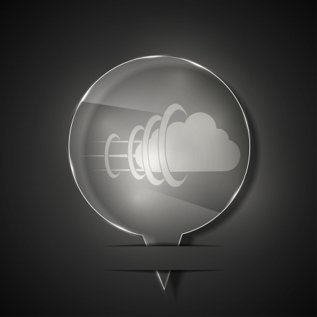 glass cloud icon on gray background. Stock Vector - 15145895