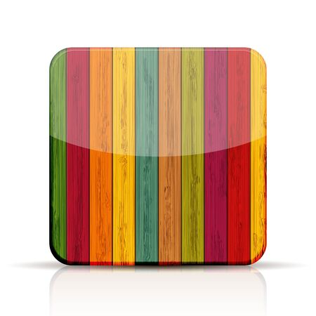 colorful wooden app icon on white background.