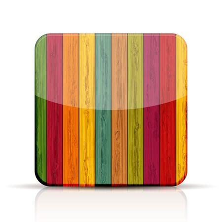 kleurrijke houten app pictogram op witte achtergrond.