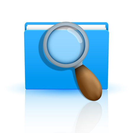 blue folder icon with magnifying glasson white background.  Vector