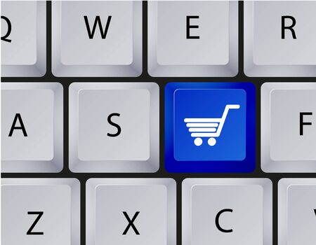 shopping icon on keyboard.  Vector