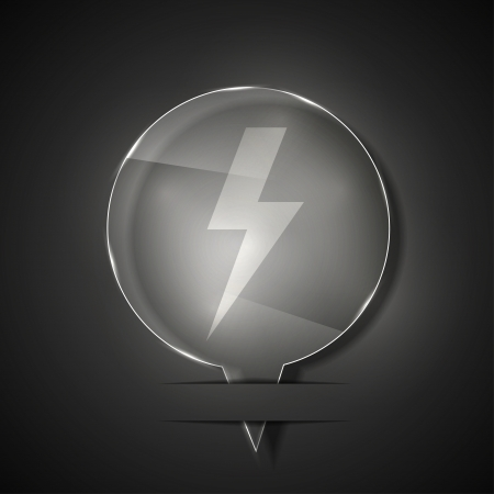 glass lightning bolt icon on gray background.  Vector