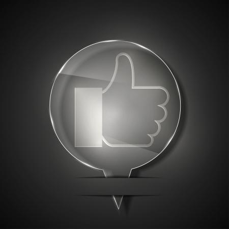 valuation: glass like icon on gray background.  Illustration