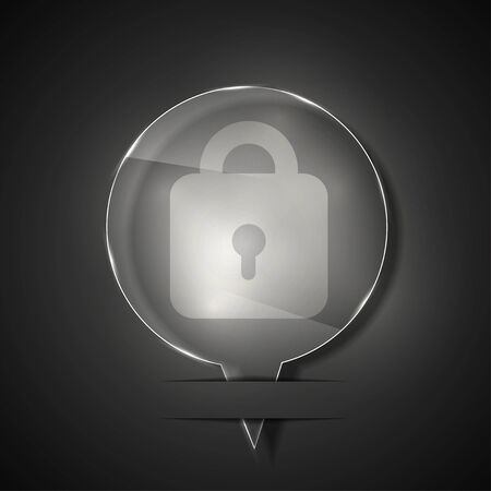 glass lock icon on gray background.  Vector