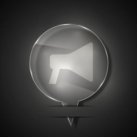 loudhailer: glass  loudspeaker icon on gray background. Illustration