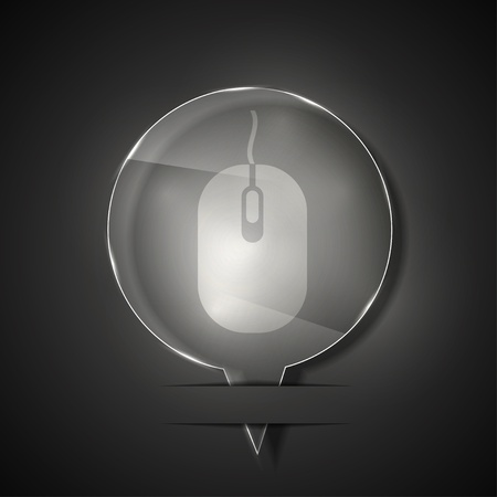 glass computer mouse icon on gray background.  Stock Vector - 15145465