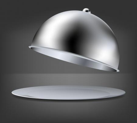 serveur avec plateau: ouvrir le plateau sur fond gris.