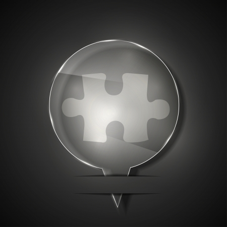 glass puzzle icon on gray background.  Stock Vector - 15145879