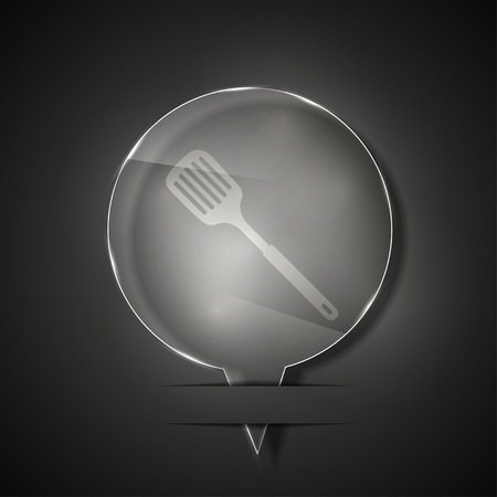 glass slotted kitchen spoon icon on gray background. Vector