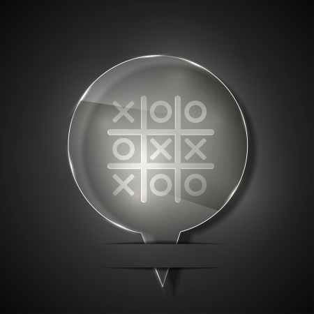 glass tic tac toe icon on gray background.