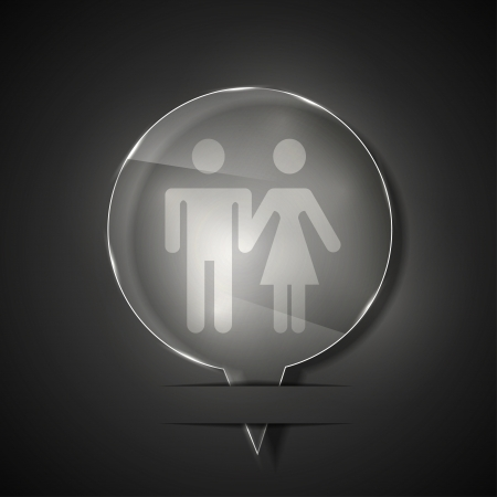 glass wc icon on gray background.  Vector