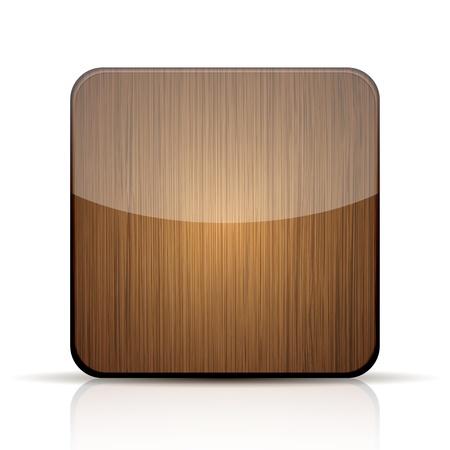 objetos cuadrados: icono de la aplicaci�n de madera sobre fondo blanco.
