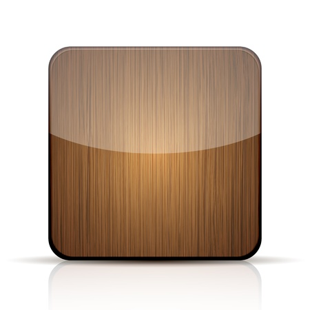 wooden app icon on white background. Vector