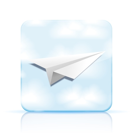 Vector origami airplane icon on white background.   Vector