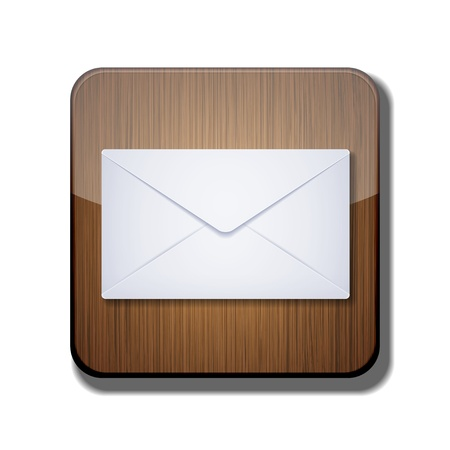 wooden post: Vector icono App correo sobre fondo blanco.