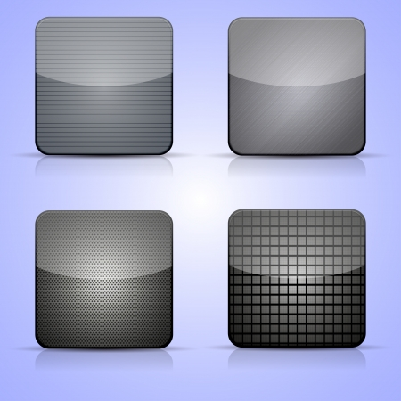 Vector metal app icon set on blue background. Vector