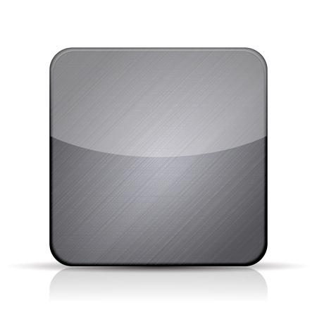 objetos cuadrados: Vector icono met�lico aplicaci�n sobre fondo blanco