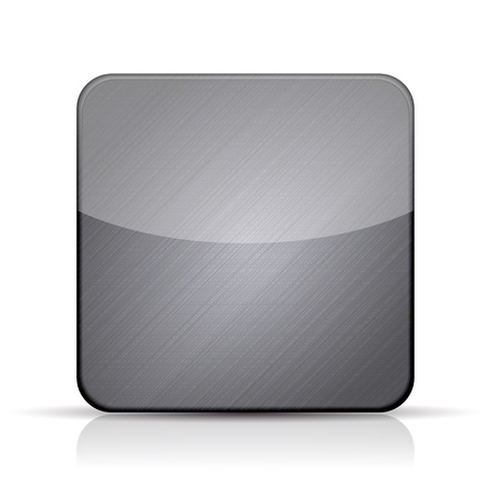 square button: Vector metal app icon on white background  Illustration