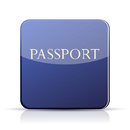 citizenship: Vector passport app icon on white background.