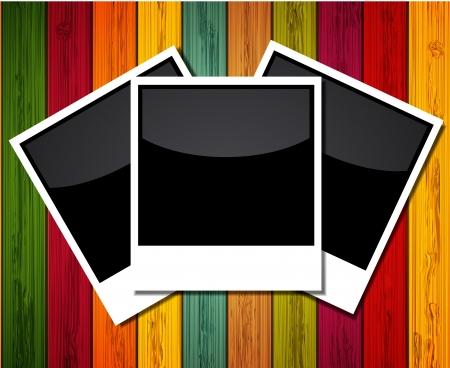 Vector foto op kleurrijke houten achtergrond.