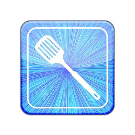 heatproof: Vector version.  slotted kitchen spoon icon.  Illustration