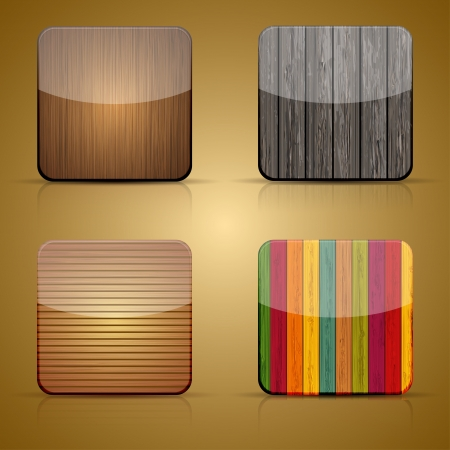 Vector wooden app icon set on brown background Stock Vector - 15436485