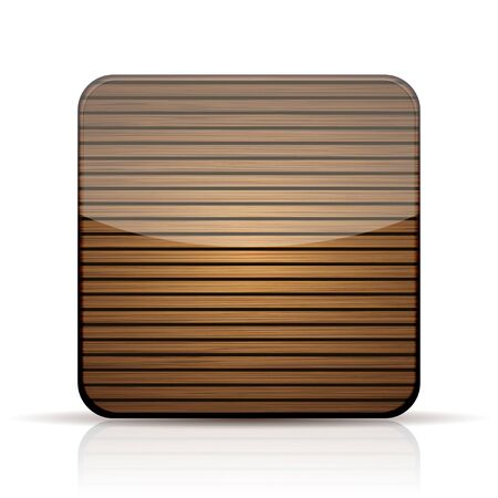 Vector wooden app icon on white background.   Vector
