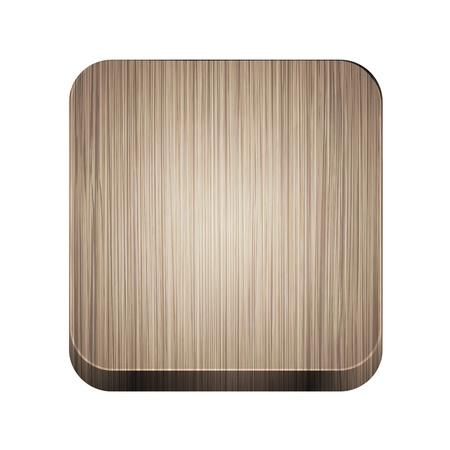 objetos cuadrados: Vector icono de la aplicaci�n de madera sobre fondo blanco