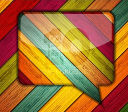 Vector colorful wooden bubble speech.