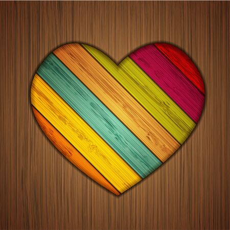 Vector colorful wooden heart on wooden background.   Vector