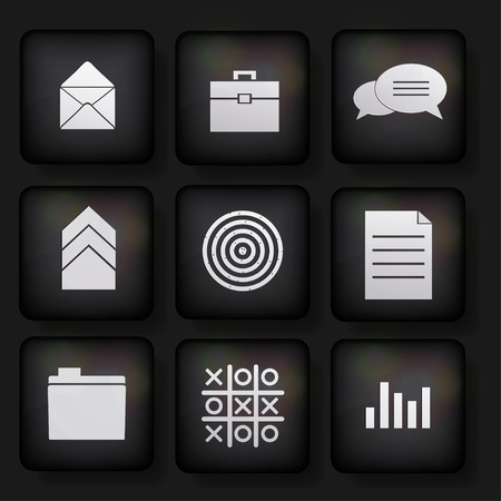 Vector business app icon set on black background. Eps10 Vector
