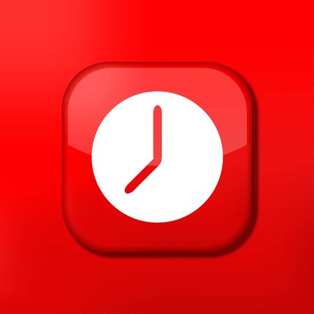 Vector red clock icon. Eps10. Easy to edit Vector