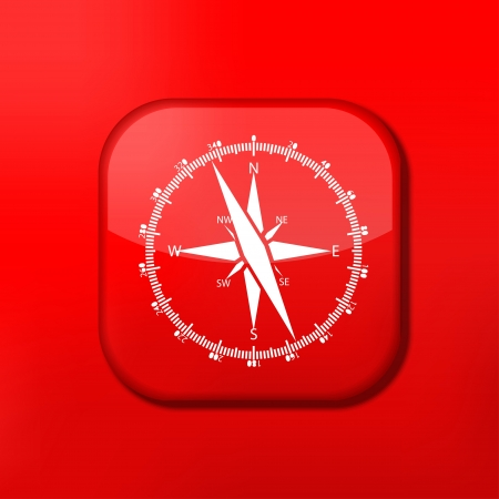Vector red compass icon. Eps10. Easy to edit Stock Vector - 15709092