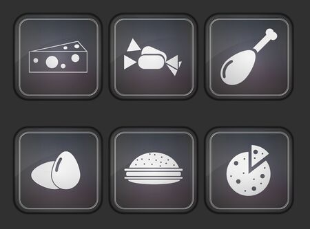 Vector food app icon set on gray background. Eps10 Vector